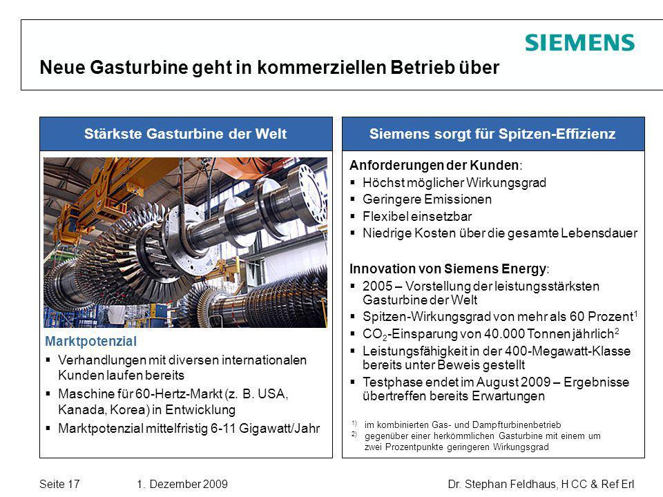 Seite 17 1. Dezember 2009 Dr. Stephan Feldhaus, H CC & Ref Erl Copyright © Siemens AG 2009. All rights reserved. Neue Gasturbine geht in kommerziellen