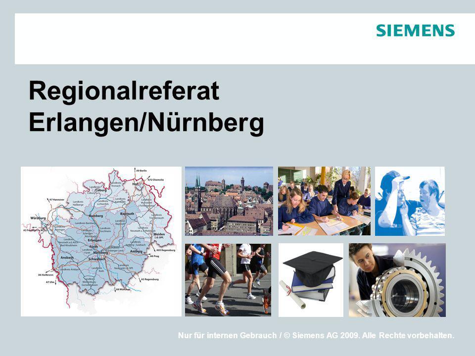 Nur für internen Gebrauch / © Siemens AG 2009. Alle Rechte vorbehalten. Regionalreferat Erlangen/Nürnberg