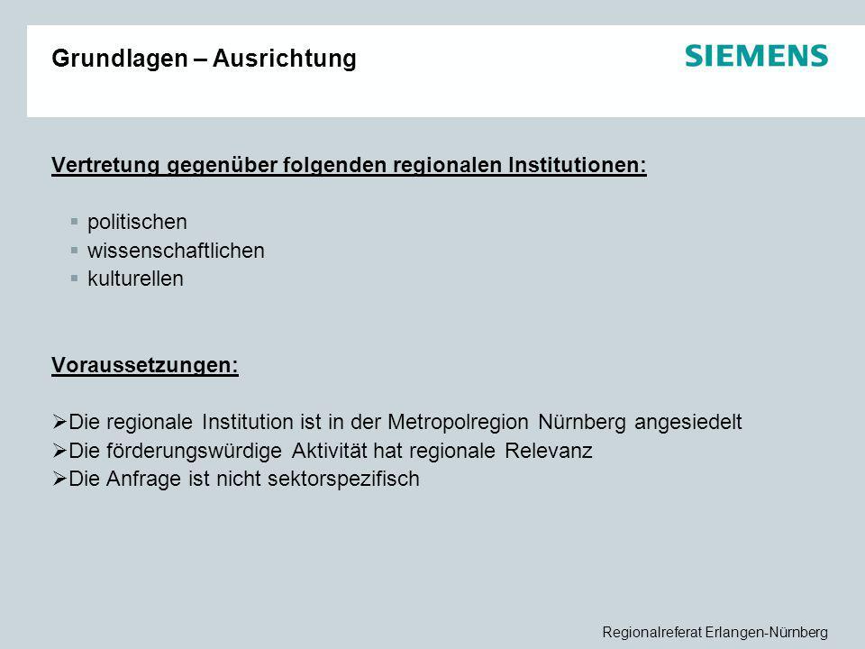 Regionalreferat Erlangen-Nürnberg Grundlagen – Ausrichtung Vertretung gegenüber folgenden regionalen Institutionen:  politischen  wissenschaftlichen