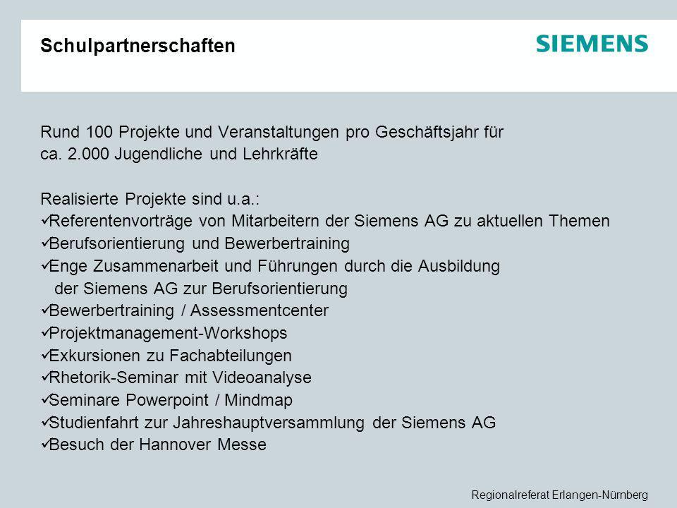 Regionalreferat Erlangen-Nürnberg Schulpartnerschaften Rund 100 Projekte und Veranstaltungen pro Geschäftsjahr für ca. 2.000 Jugendliche und Lehrkräft