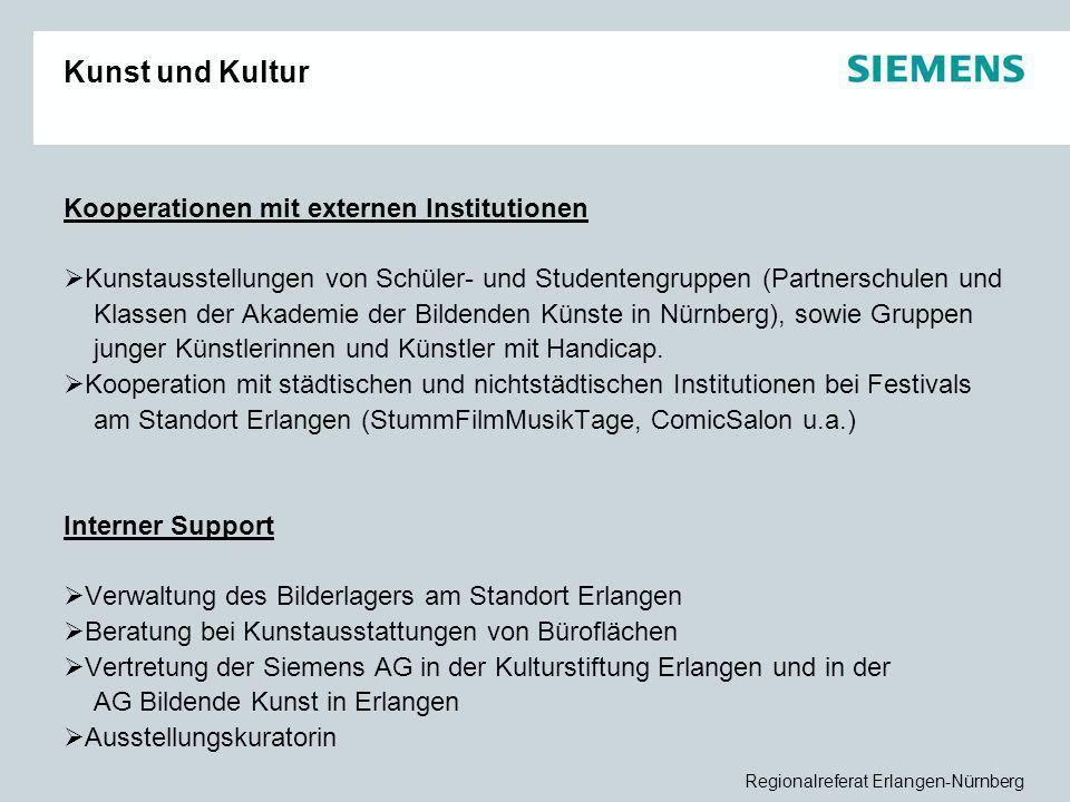 Regionalreferat Erlangen-Nürnberg Kunst und Kultur Kooperationen mit externen Institutionen  Kunstausstellungen von Schüler- und Studentengruppen (Pa