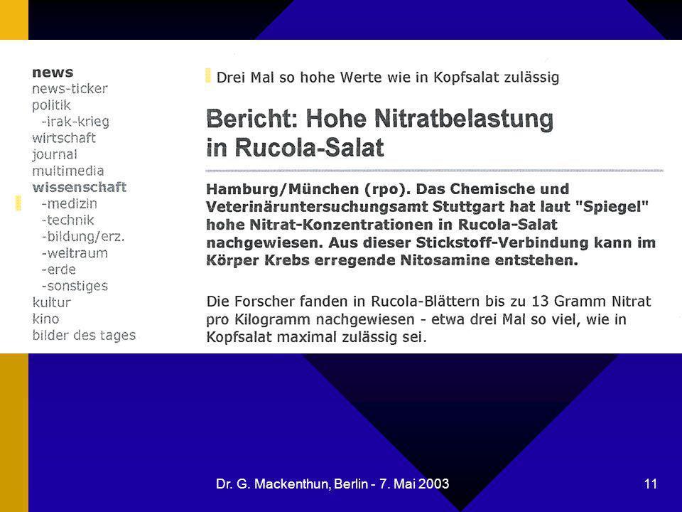 Dr. G. Mackenthun, Berlin - 7. Mai 2003 11 Nitrat im Rucola-Salat
