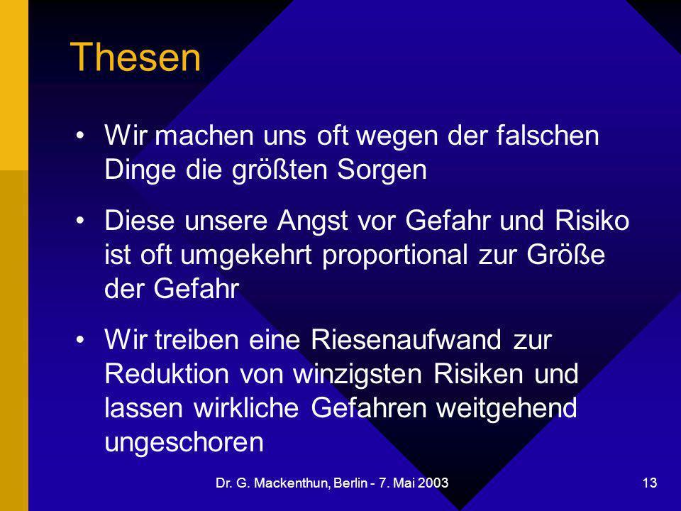 Dr. G. Mackenthun, Berlin - 7. Mai 2003 13 Thesen Wir machen uns oft wegen der falschen Dinge die größten Sorgen Diese unsere Angst vor Gefahr und Ris