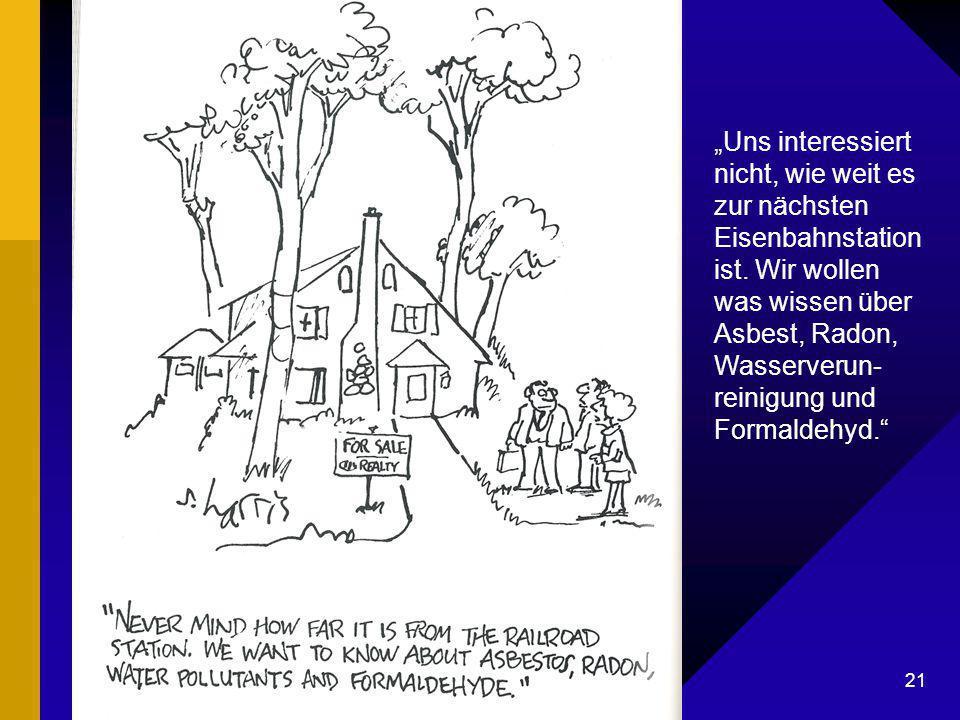 """Dr. G. Mackenthun, Berlin - 7. Mai 2003 21 Karikatur Hauskauf """"Uns interessiert nicht, wie weit es zur nächsten Eisenbahnstation ist. Wir wollen was w"""