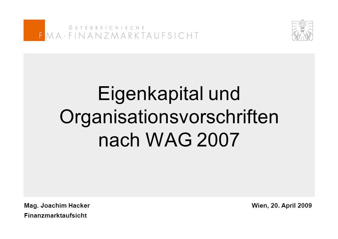 Mag. Joachim Hacker Finanzmarktaufsicht Wien, 20.