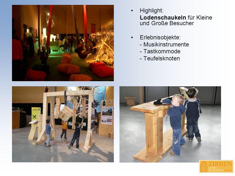 Highlight: Lodenschaukeln für Kleine und Große Besucher Erlebnisobjekte: - Musikinstrumente - Tastkommode - Teufelsknoten