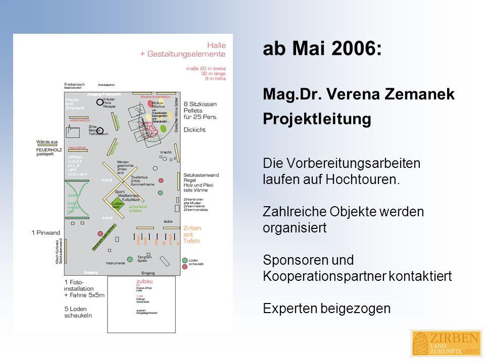 ab Mai 2006: Mag.Dr. Verena Zemanek Projektleitung Die Vorbereitungsarbeiten laufen auf Hochtouren.