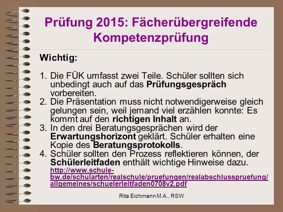 Prüfung 2015: Fächerübergreifende Kompetenzprüfung Wichtig: 1.Die FÜK umfasst zwei Teile.
