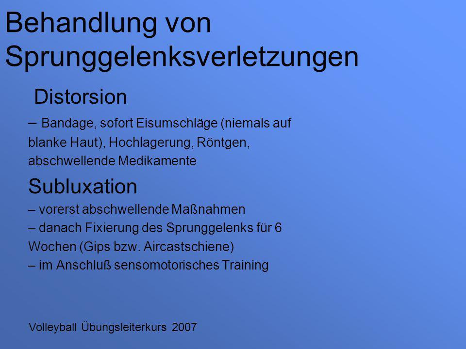 Volleyball Übungsleiterkurs 2007 Distorsion – Bandage, sofort Eisumschläge (niemals auf blanke Haut), Hochlagerung, Röntgen, abschwellende Medikamente