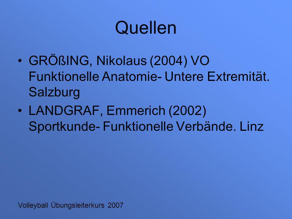 Volleyball Übungsleiterkurs 2007 Quellen GRÖßING, Nikolaus (2004) VO Funktionelle Anatomie- Untere Extremität. Salzburg LANDGRAF, Emmerich (2002) Spor