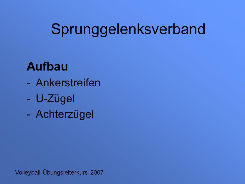Volleyball Übungsleiterkurs 2007 Aufbau -Ankerstreifen -U-Zügel -Achterzügel Sprunggelenksverband