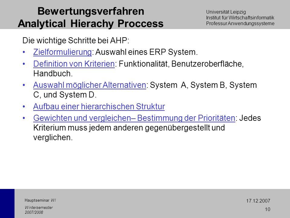 Universität Leipzig Institut für Wirtschaftsinformatik Professur Anwendungssysteme 17.12.2007 10 Hauptseminar WI Wintersemester 2007/2008 Bewertungsve