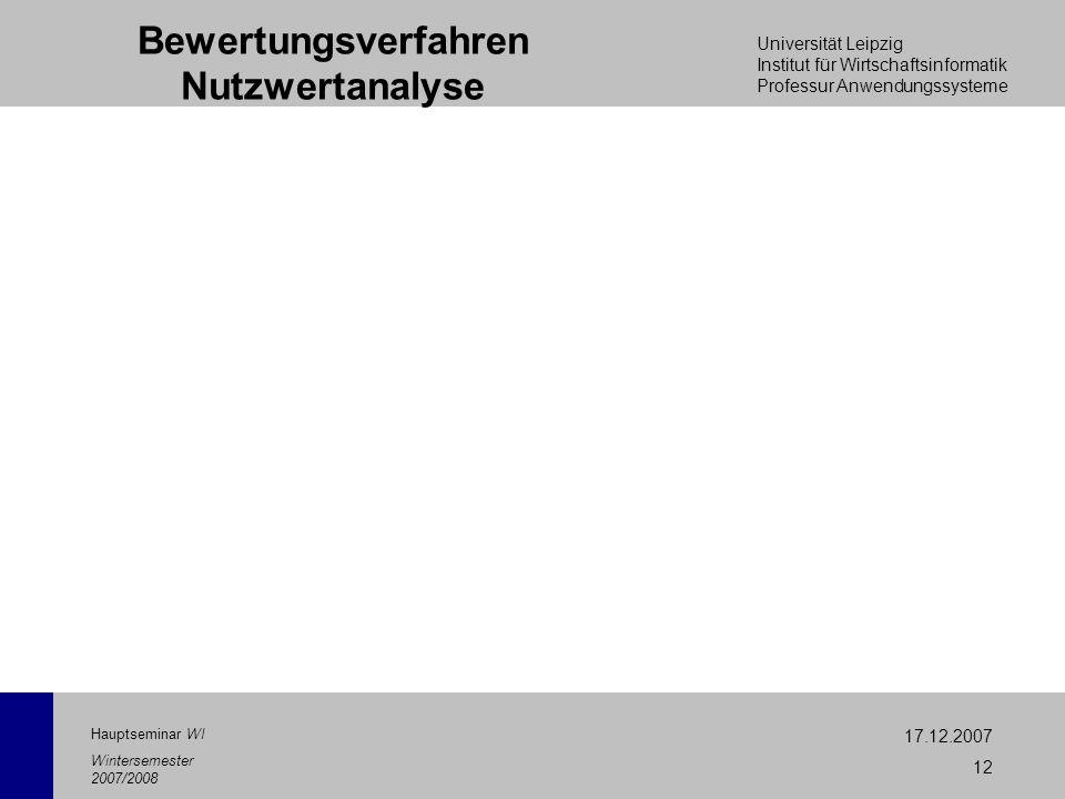 Universität Leipzig Institut für Wirtschaftsinformatik Professur Anwendungssysteme 17.12.2007 12 Hauptseminar WI Wintersemester 2007/2008 Bewertungsve