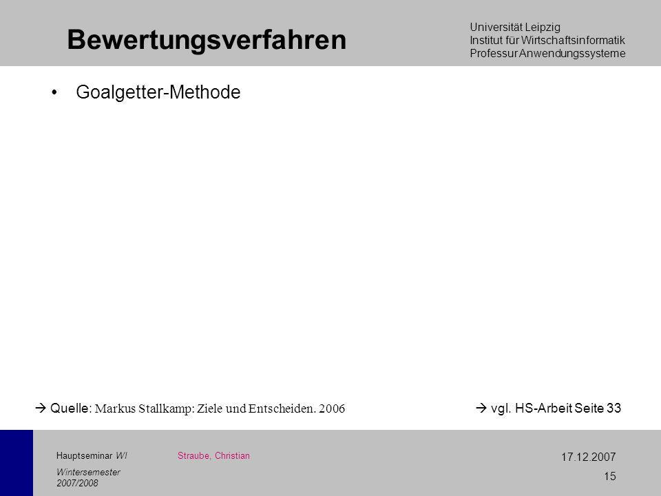 Universität Leipzig Institut für Wirtschaftsinformatik Professur Anwendungssysteme 17.12.2007 15 Hauptseminar WI Wintersemester 2007/2008 Bewertungsve