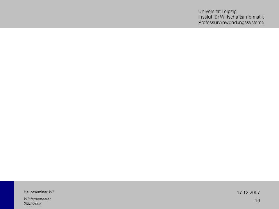 Universität Leipzig Institut für Wirtschaftsinformatik Professur Anwendungssysteme 17.12.2007 16 Hauptseminar WI Wintersemester 2007/2008