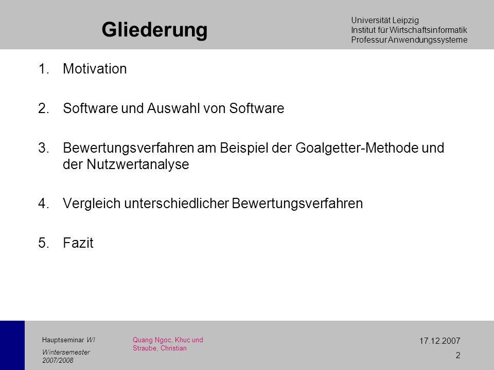 Universität Leipzig Institut für Wirtschaftsinformatik Professur Anwendungssysteme 17.12.2007 2 Hauptseminar WI Wintersemester 2007/2008 Gliederung 1.