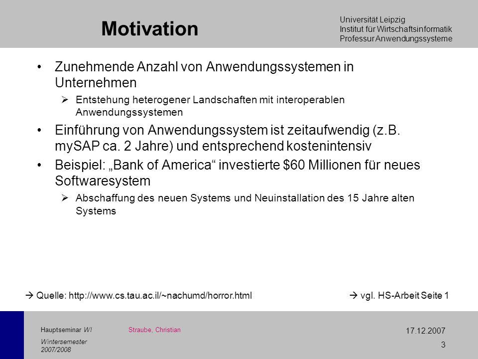 Universität Leipzig Institut für Wirtschaftsinformatik Professur Anwendungssysteme 17.12.2007 3 Hauptseminar WI Wintersemester 2007/2008 Motivation Zu
