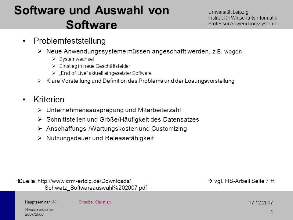 Universität Leipzig Institut für Wirtschaftsinformatik Professur Anwendungssysteme 17.12.2007 4 Hauptseminar WI Wintersemester 2007/2008 Software und