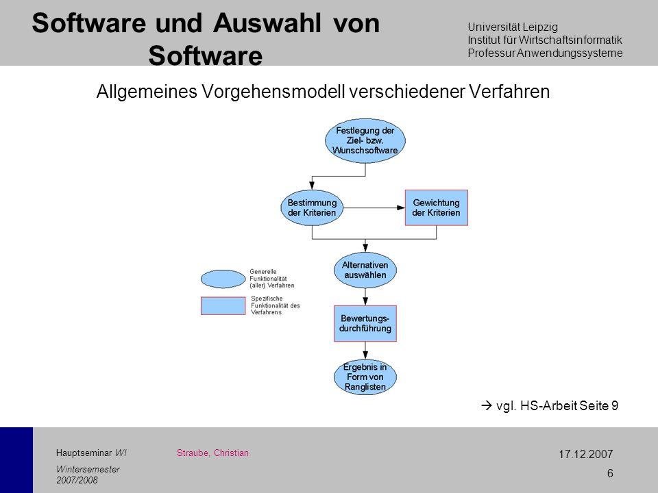 Universität Leipzig Institut für Wirtschaftsinformatik Professur Anwendungssysteme 17.12.2007 6 Hauptseminar WI Wintersemester 2007/2008 Software und