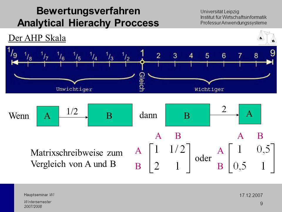 Universität Leipzig Institut für Wirtschaftsinformatik Professur Anwendungssysteme 17.12.2007 9 Hauptseminar WI Wintersemester 2007/2008 Bewertungsver