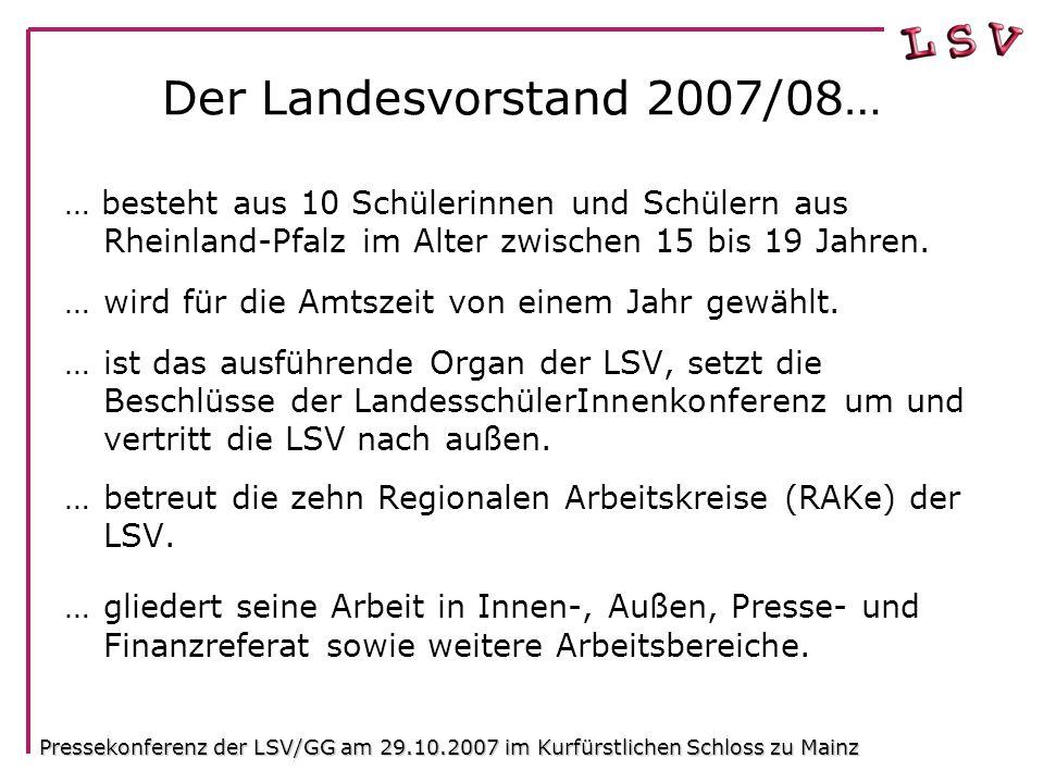 Der Landesvorstand 2007/08… … besteht aus 10 Schülerinnen und Schülern aus Rheinland-Pfalz im Alter zwischen 15 bis 19 Jahren.