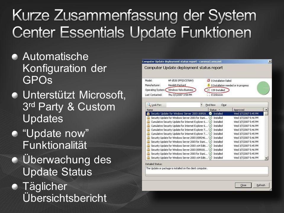 Automatische Konfiguration der GPOs Unterstützt Microsoft, 3 rd Party & Custom Updates Update now Funktionalität Überwachung des Update Status Täglicher Übersichtsbericht