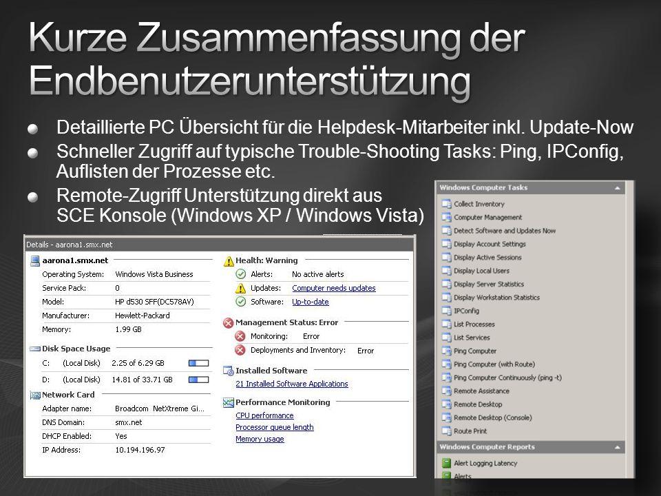 Detaillierte PC Übersicht für die Helpdesk-Mitarbeiter inkl.