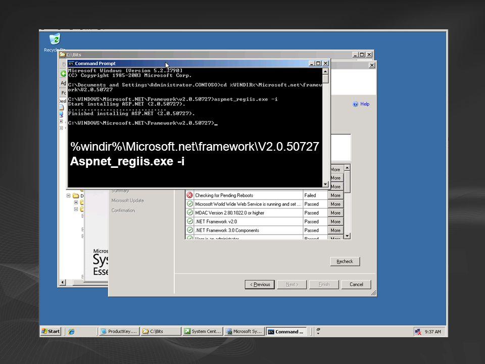 %windir%\Microsoft.net\framework\V2.0.50727 Aspnet_regiis.exe -i