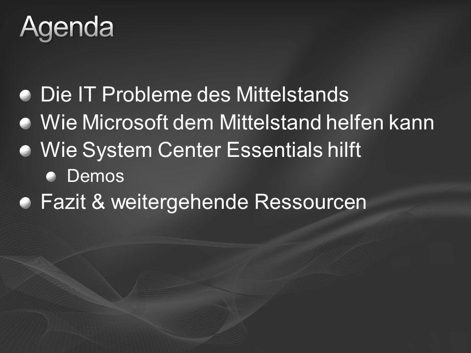 Die IT Probleme des Mittelstands Wie Microsoft dem Mittelstand helfen kann Wie System Center Essentials hilft Demos Fazit & weitergehende Ressourcen