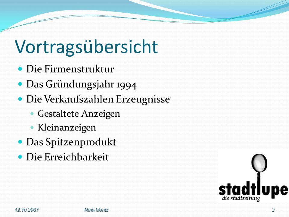 Die Firmenleitung 12.10.20073Nina Moritz