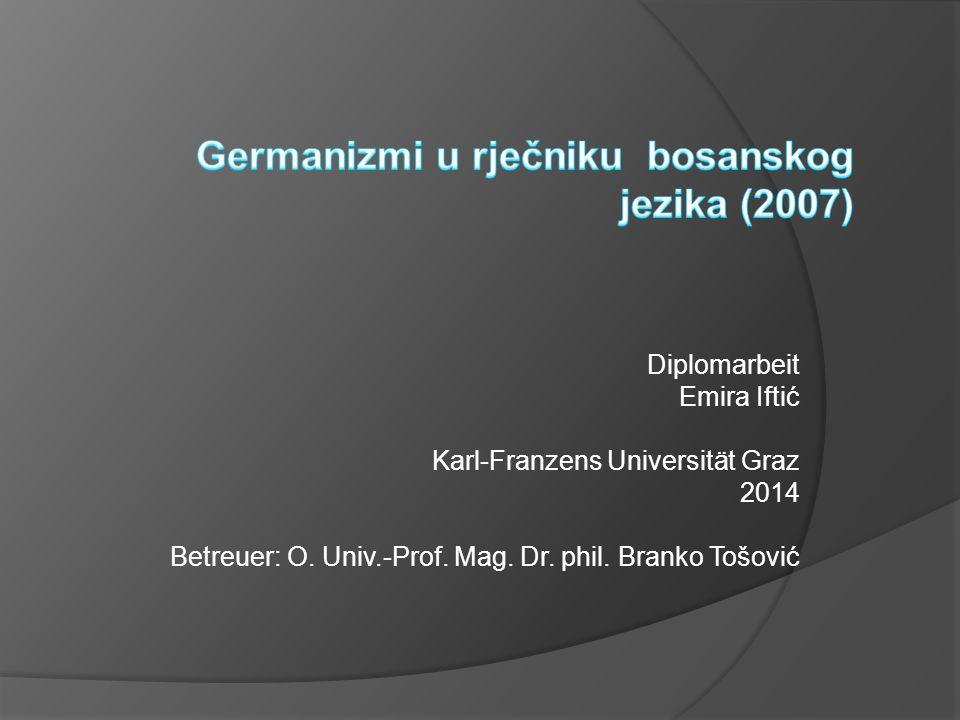 Diplomarbeit Emira Iftić Karl-Franzens Universität Graz 2014 Betreuer: O. Univ.-Prof. Mag. Dr. phil. Branko Tošović