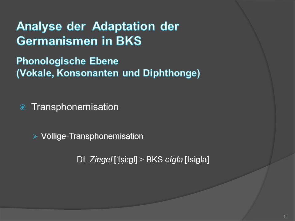 Transphonemisation  Völlige-Transphonemisation Dt. Ziegel [ ˈ tsi ː gl ̩ ] > BKS cígla [tsigla] 10