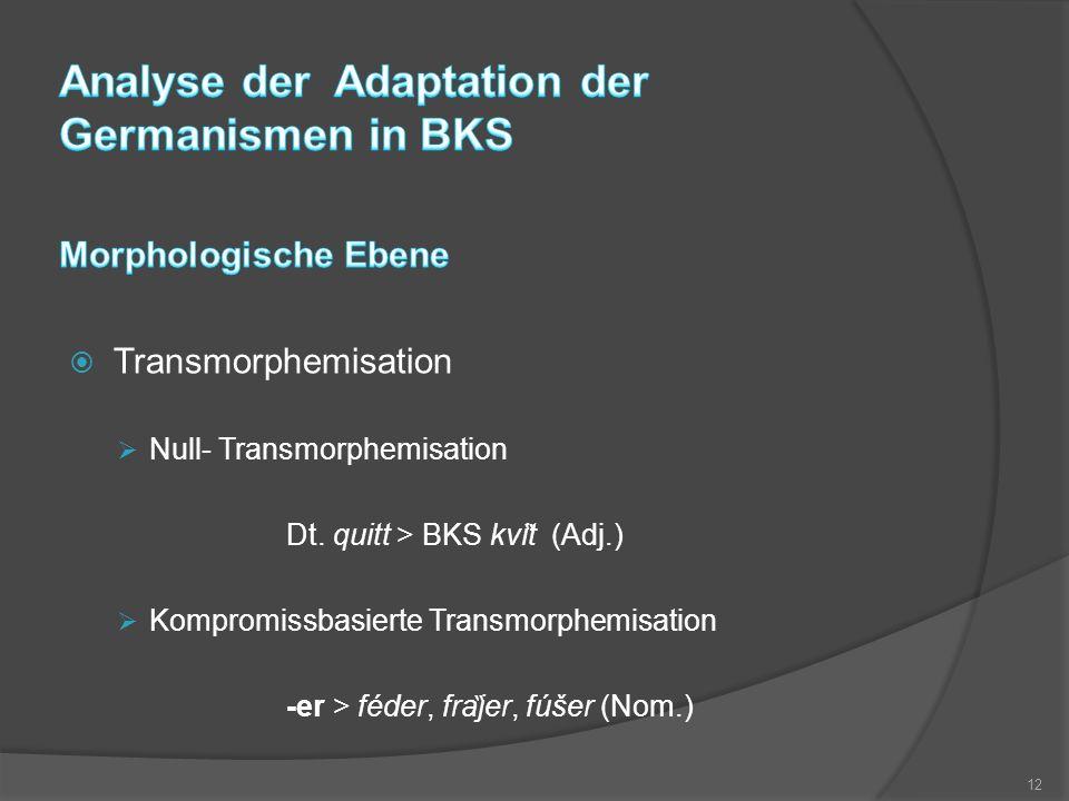  Transmorphemisation  Null- Transmorphemisation Dt. quitt > BKS kvi ̏ t (Adj.)  Kompromissbasierte Transmorphemisation -er > féder, fra ̏ jer, fú