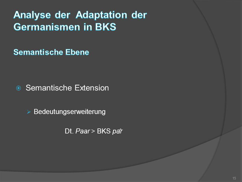  Semantische Extension  Bedeutungserweiterung Dt. Paar > BKS pa ̂ r 15