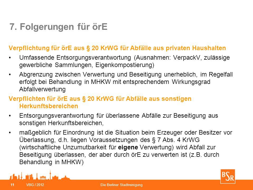 VBG / 2012Die Berliner Stadtreinigung 11 7. Folgerungen für örE Verpflichtung für örE aus § 20 KrWG für Abfälle aus privaten Haushalten Umfassende Ent