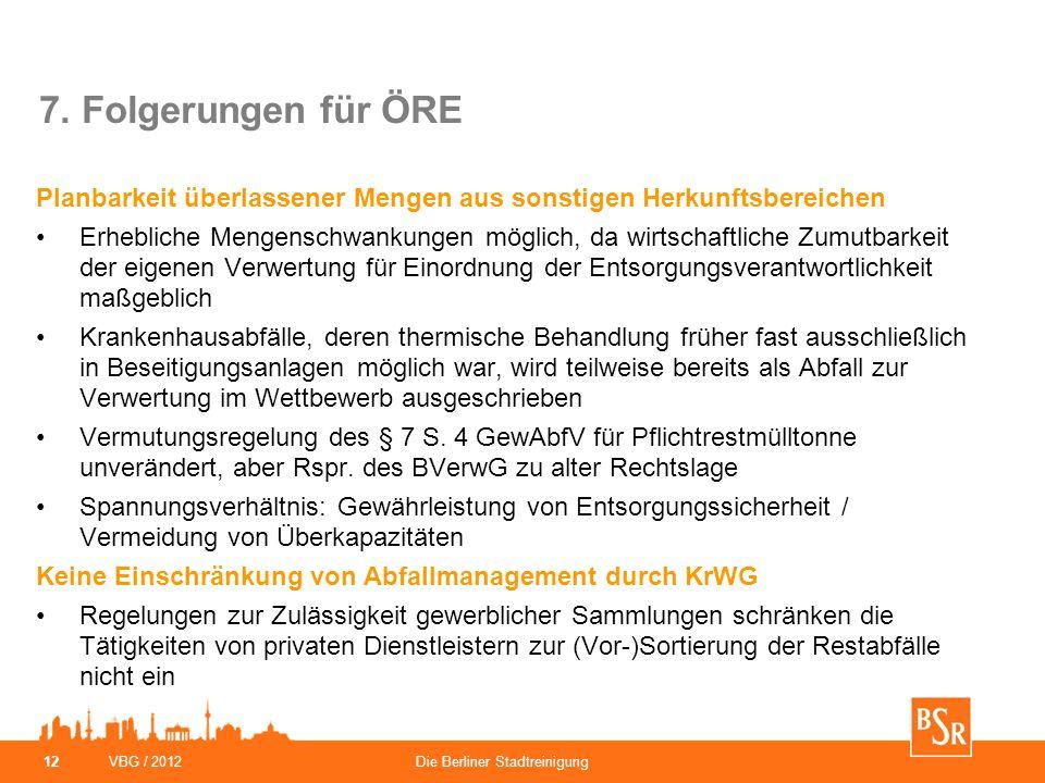 VBG / 2012Die Berliner Stadtreinigung 12 7. Folgerungen für ÖRE Planbarkeit überlassener Mengen aus sonstigen Herkunftsbereichen Erhebliche Mengenschw