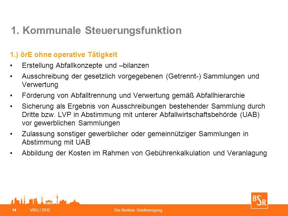 VBG / 2012Die Berliner Stadtreinigung 14 1. Kommunale Steuerungsfunktion 1.) örE ohne operative Tätigkeit Erstellung Abfallkonzepte und –bilanzen Auss