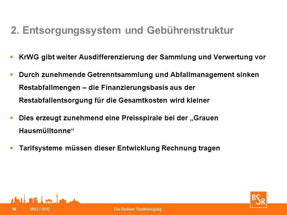 VBG / 2012Die Berliner Stadtreinigung 16 2. Entsorgungssystem und Gebührenstruktur  KrWG gibt weiter Ausdifferenzierung der Sammlung und Verwertung v