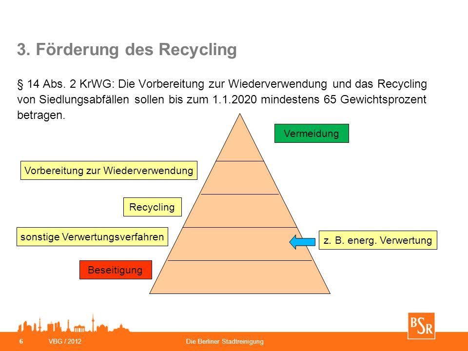 3. Förderung des Recycling § 14 Abs. 2 KrWG: Die Vorbereitung zur Wiederverwendung und das Recycling von Siedlungsabfällen sollen bis zum 1.1.2020 min