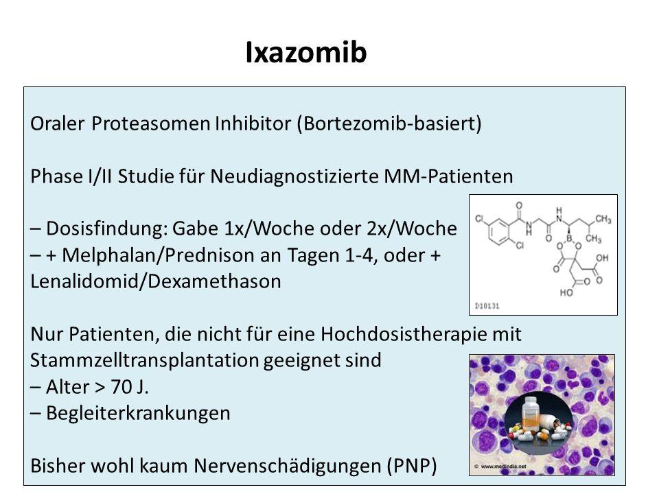 Ixazomib Oraler Proteasomen Inhibitor (Bortezomib-basiert) Phase I/II Studie für Neudiagnostizierte MM-Patienten – Dosisfindung: Gabe 1x/Woche oder 2x/Woche – + Melphalan/Prednison an Tagen 1-4, oder + Lenalidomid/Dexamethason Nur Patienten, die nicht für eine Hochdosistherapie mit Stammzelltransplantation geeignet sind – Alter > 70 J.
