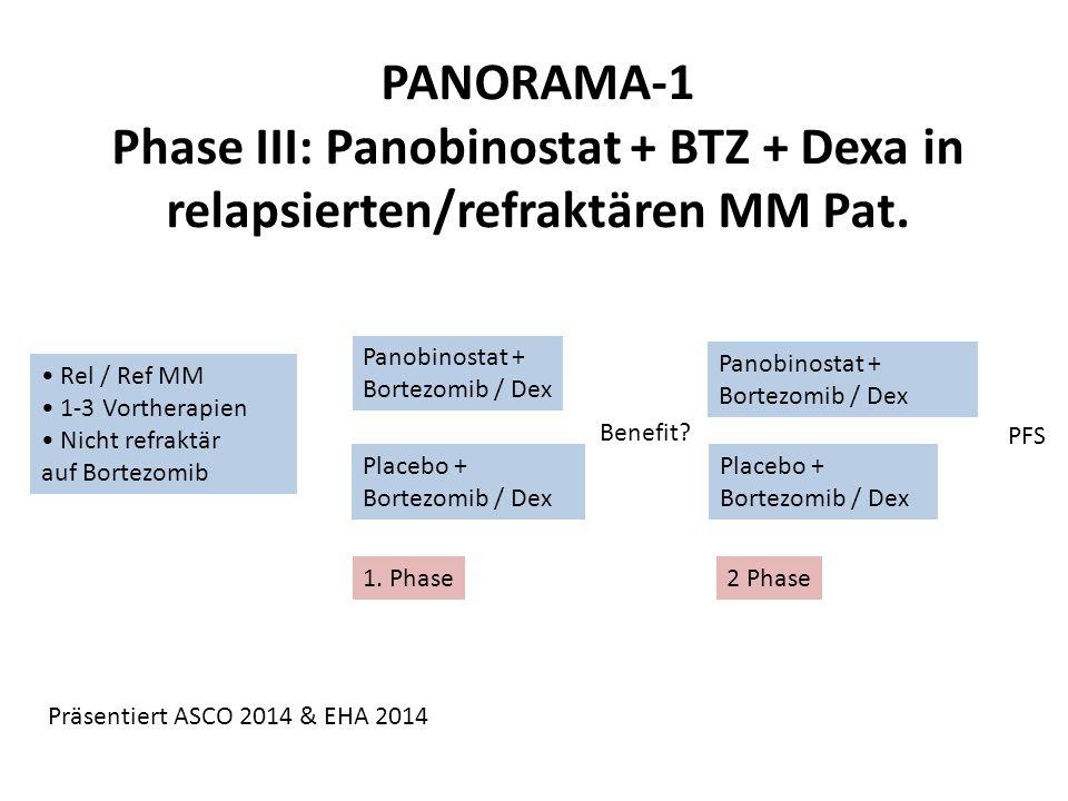 PANORAMA-1 Phase III: Panobinostat + BTZ + Dexa in relapsierten/refraktären MM Pat. Rel / Ref MM 1-3 Vortherapien Nicht refraktär auf Bortezomib Panob