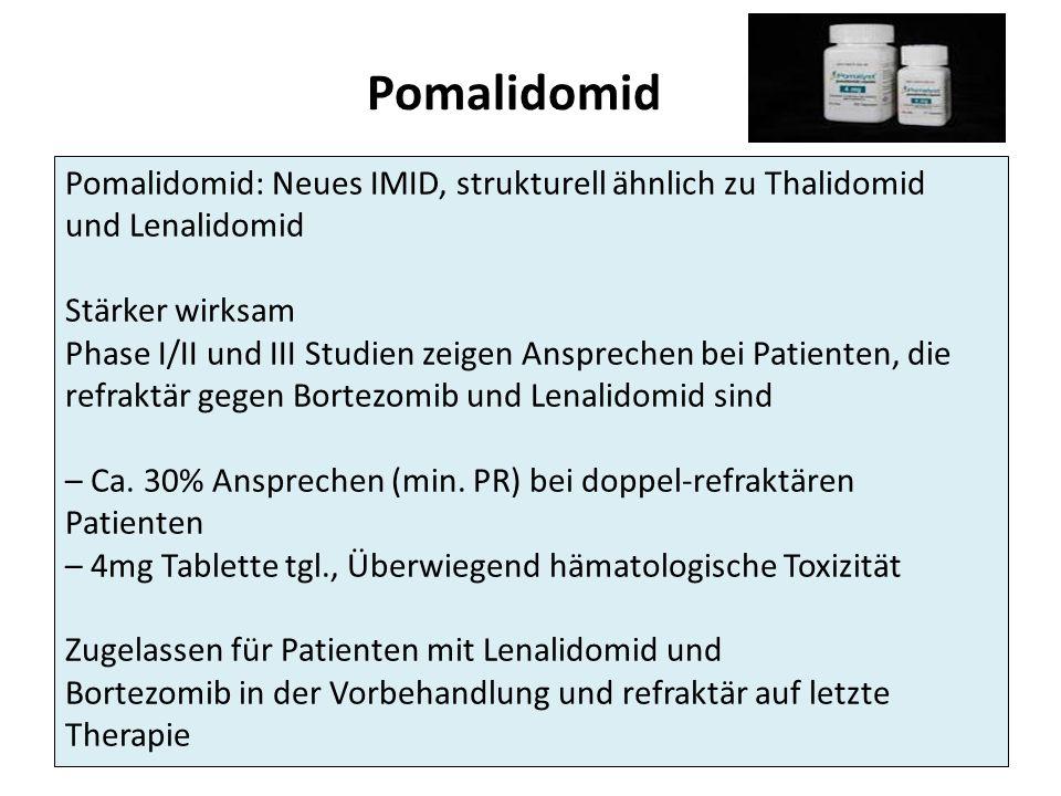 Pomalidomid Pomalidomid: Neues IMID, strukturell ähnlich zu Thalidomid und Lenalidomid Stärker wirksam Phase I/II und III Studien zeigen Ansprechen bei Patienten, die refraktär gegen Bortezomib und Lenalidomid sind – Ca.