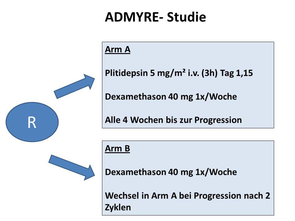 Arm A Plitidepsin 5 mg/m² i.v. (3h) Tag 1,15 Dexamethason 40 mg 1x/Woche Alle 4 Wochen bis zur Progression Arm B Dexamethason 40 mg 1x/Woche Wechsel i