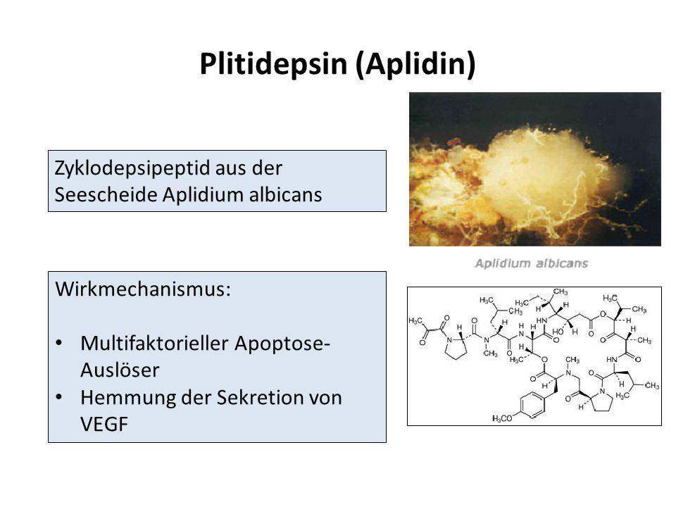 Plitidepsin (Aplidin) Zyklodepsipeptid aus der Seescheide Aplidium albicans Wirkmechanismus: Multifaktorieller Apoptose- Auslöser Hemmung der Sekretion von VEGF