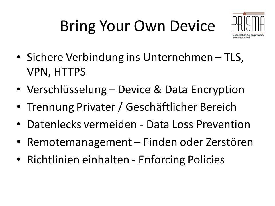 Bring Your Own Device Sichere Verbindung ins Unternehmen – TLS, VPN, HTTPS Verschlüsselung – Device & Data Encryption Trennung Privater / Geschäftlich