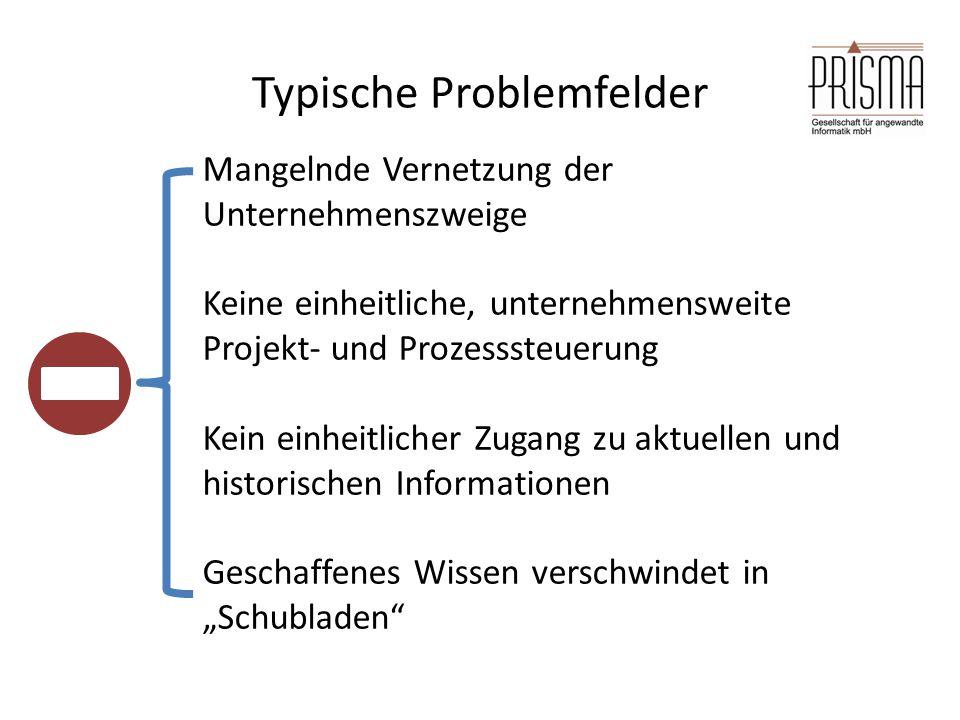 Typische Problemfelder Mangelnde Vernetzung der Unternehmenszweige Keine einheitliche, unternehmensweite Projekt- und Prozesssteuerung Kein einheitlic