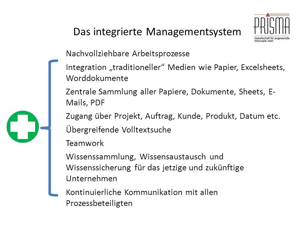 """Das integrierte Managementsystem Nachvollziehbare Arbeitsprozesse Integration """"traditioneller"""" Medien wie Papier, Excelsheets, Worddokumente Zentrale"""