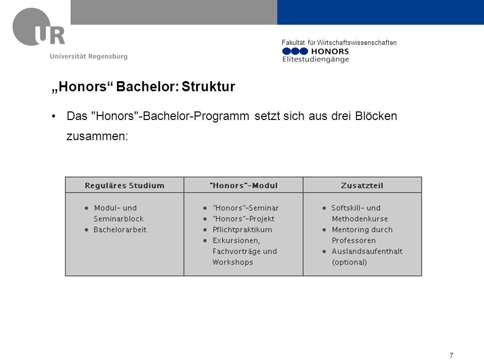 "Fakultät für Wirtschaftswissenschaften ""Honors Bachelor Modul Zusätzlich zu absolvierende 20 KP in Studienphase 2: - ""Honors - Seminar (8 KP) - ""Honors - Projekt (6 KP) - ""Honors - Praktikum (4 KP) -""Honors - Exkursionen und -schulungen (2 KP) (z.B."
