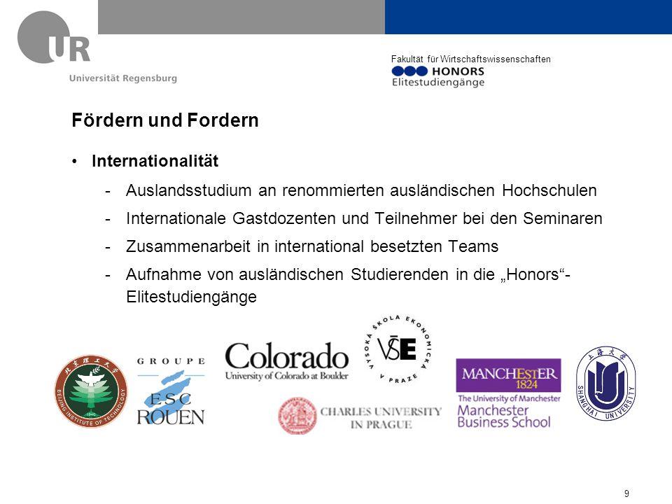 Fakultät für Wirtschaftswissenschaften Fördern und Fordern Vernetzung mit der Praxis: Kooperationsfirmen 10