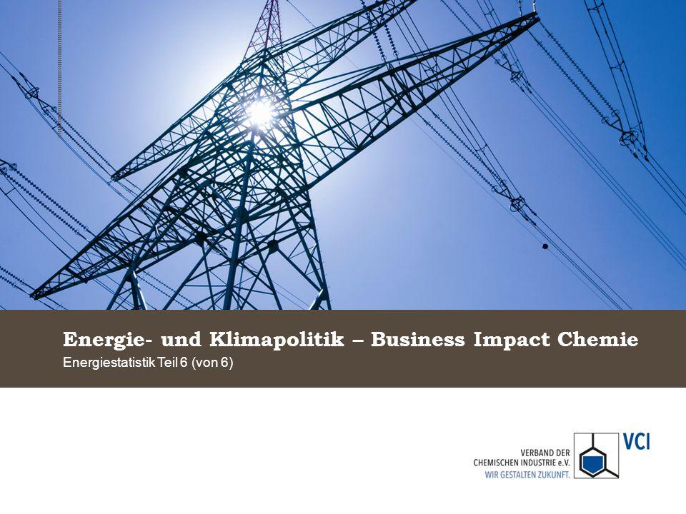 Energie- und Klimapolitik – Business Impact Chemie Energiestatistik Teil 6 (von 6)